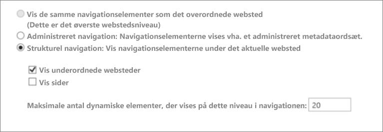 Skærmbillede med underordnede websteder