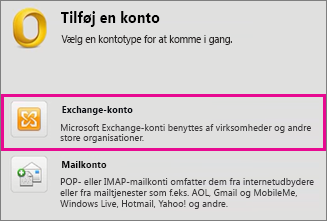 Funktioner > Konti > Exchange-konto