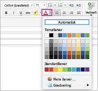 Skriftfarvevælger i Outlook til Mac