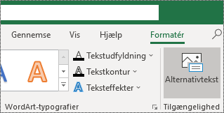 Knappen alternativ tekst på båndet i Excel til Windows