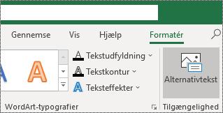 Alternativ tekst-knappen på båndet i Excel til Windows