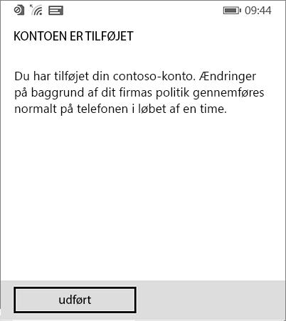 Fuldføre Arbejdsområde-konto på Windows Phone