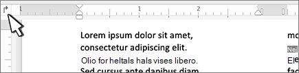 Knappen for venstre fane på linealen i Mac
