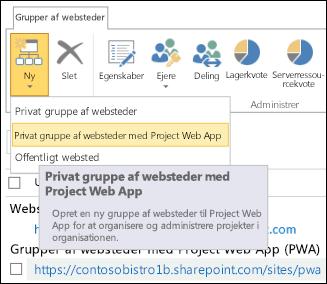 Ny > Privat gruppe af websteder med Project Web App