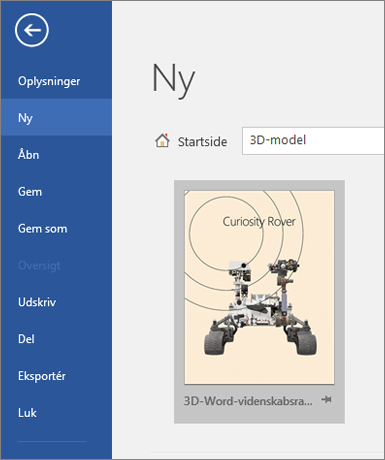 Viser en 3D-model skabelon under Filer > ny