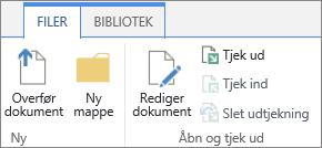 Klyngen af knapper under sektionen Åbn og tjek ud på båndet Filer