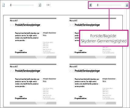 Skyderen Vis udskrift for at se både forsiden og bagsiden af din publikation, så du kan se, om de vender korrekt.