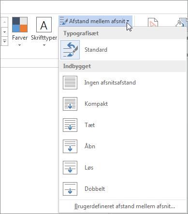 Skærmbillede af fanen Design i Word, der viser menuen Afstand mellem afsnit.