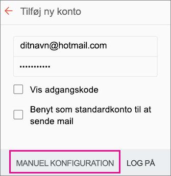 Vælg manuel konfiguration