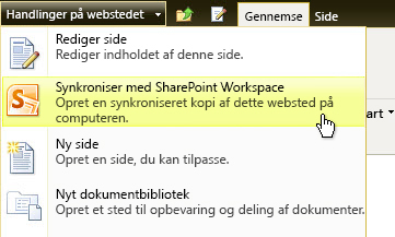 Synkroniser med SharePoint Workspace