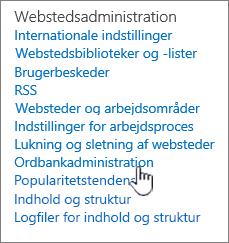 Sigt link til administration af store under indstillinger for websted