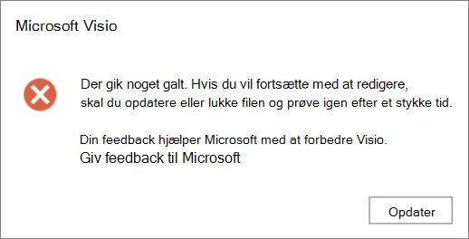 Skærmbillede af et problem, der opstod en fejl under redigering af en fil i Visio