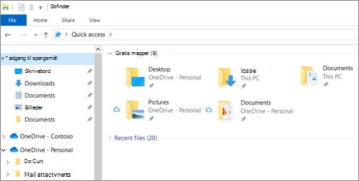 Stifinder i Windows 10 med mapper til skrivebordet, dokumenter og billeder i OneDrive