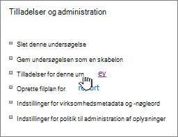 Tilladelser og administration med undersøgelse tilladelser, der er fremhævet