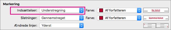 I boksen Registrering af ændringer er Kodetypen Indsættelser fremhævet.