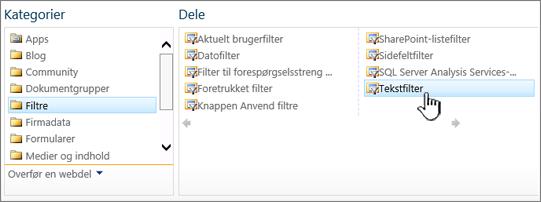 Markering af webdelen Tekstfilter