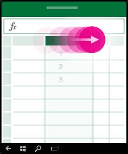 Illustration, der viser, hvordan du kan tilpasse størrelsen på en kolonne
