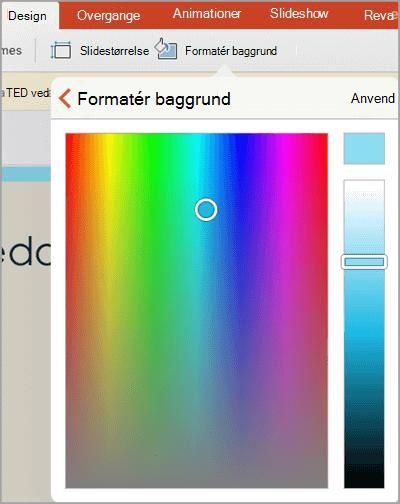Brugerdefinerede baggrundsfarver