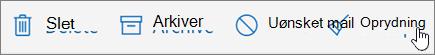 Et skærmbillede viser indstillingen oprydning er markeret på værktøjslinjen mail.