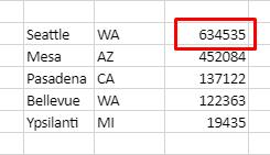 Tabel med bynavne, delstater og befolkningsstørrelse. Har ikke overskrifter og sortering faldende efter befolkning