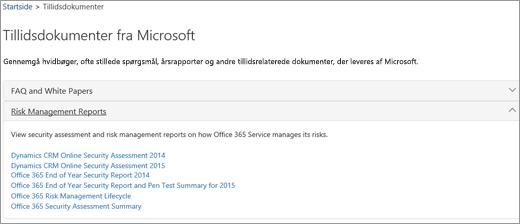 Viser siden Tjenestesikring: Hav tillid til dokumenter, der leveres af Microsoft