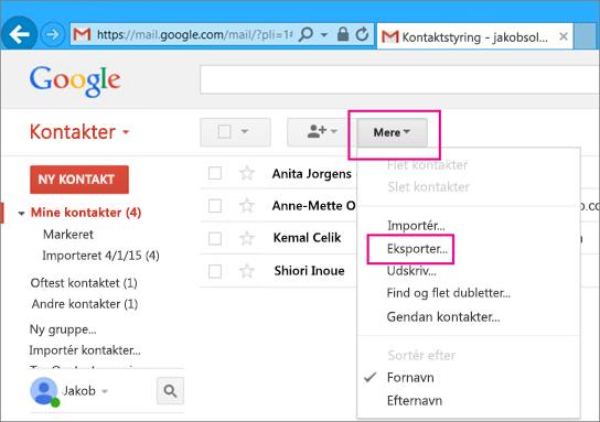 For at importere kontakter fra Gmail til Office 365 skal du vælge Kontaktpersoner, Mere, Eksporter i Gmail