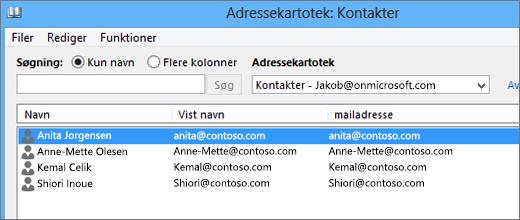 Når kontaktpersonerne er importeret fra Google Gmail til Office 365, kan du se dem i Adressekartotek: Kontakter