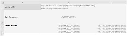Et eksempel på funktionen FILTRERXML