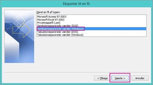 Vælg kommaseparerede værdier (Windows)