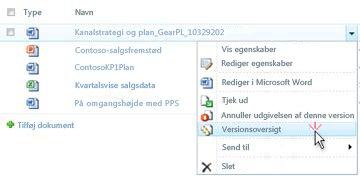 Rulleliste for en SharePoint-fil. Versionshistorik er markeret.