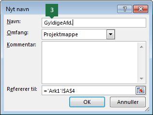 Skriv et navn til dine rullelisteposter i Excel