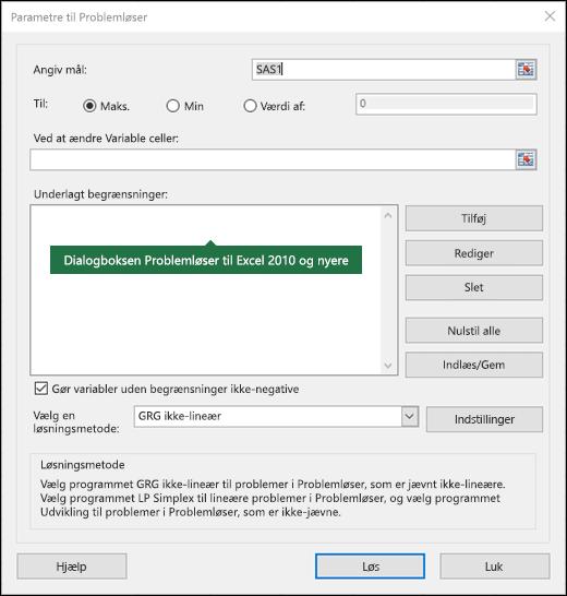 Billede af dialogboksen Excel 2010 + Problemløser