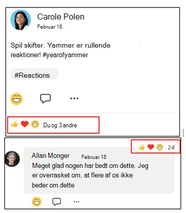Skærmbillede, der viser, hvordan du kan se, hvilke samtaler der har flest reaktioner på Yammer mobile