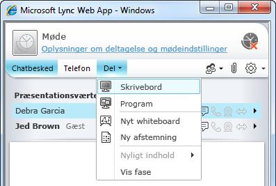 Lync Web App-menuen Del