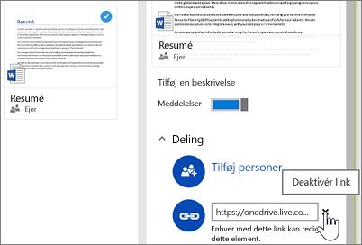 Skærmbillede af deaktivering af et link i detaljeruden for at stoppe med at dele et element