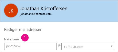 Skærmbillede af profilfeltet mailadresse i Office 365