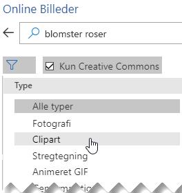 Vælg knappen Filter og vælg derefter Clipart