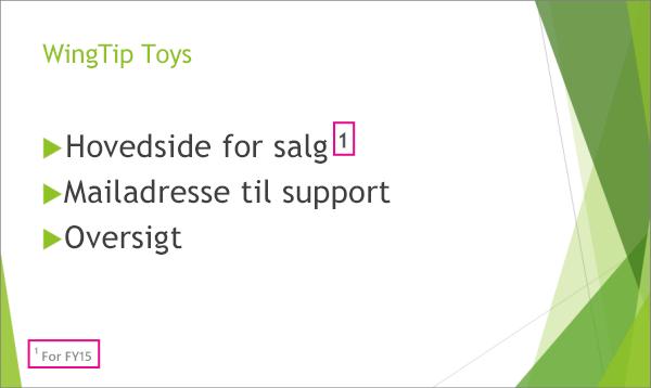Slide med sidefod i PowerPoint