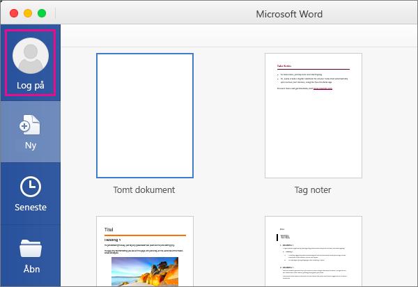 Klik på Ny fra skabelon i menuen Filer, og klik derefter på Log på for at logge på Office.