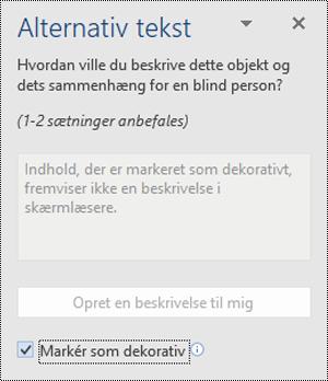 Ruden Alternativ tekst med indstillingen Markér som dekorativ valgt i Word til Windows.
