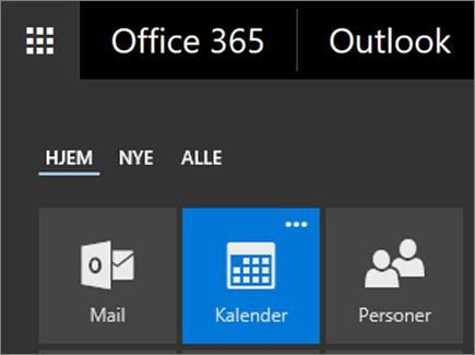 Et skærmbillede af feltet Kalender i Office 365-appstarteren.