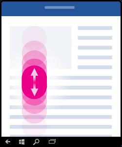 Illustration, der viser hvordan du ruller (tryk og flyt fingeren op og ned på skærmen).