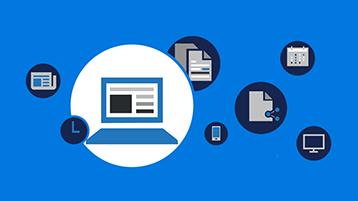 Symboler på en skærm med en blå baggrund