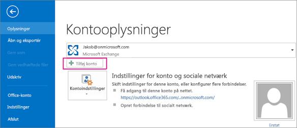 Klik på knappen Tilføj konto for at tilføje en Gmail-konto til Outlook