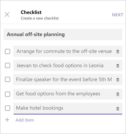 Tilføjer elementer til en tjekliste i Microsoft Teams.