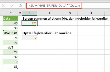 """Brug matrixer til at håndtere fejl. F. eks. = SUM (hvis (fejl (data), """""""", data) adderer området navngivne data, selvom der er fejl, som #VALUE! eller #NA!."""