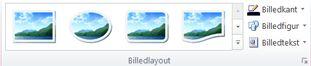 Gruppen Billedtypografier fra fanen Billedværktøjer i Publisher 2010