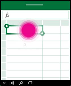 Illustration, der viser markering og redigering i en celle