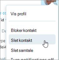 Et skærmbillede af indstillingen Slet kontakter i Skype kontakter genvejsmenuen