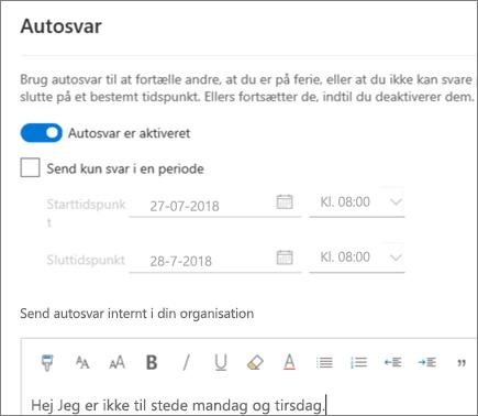 Opret et automatisk svar (fraværende) i Outlook på internettet